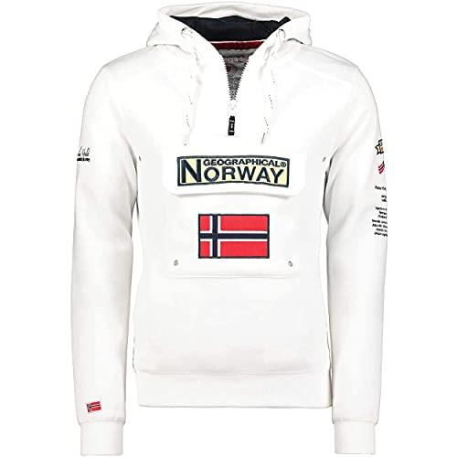 Geographical Norway GYMCLASS Men - Sudadera Capucha Bolsillos Hombre - Chaqueta Casual Hombres Abrigo - Camisetas Camisa Manga Larga - Hoodie Deportiva Regular Fitness Jacket Tops (Blanco L)