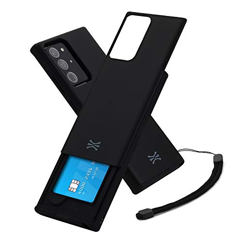 TORU CX Slide Compatible with Samsung Galaxy Note 20 Ultra 5G Case - Protective Bumper & Hard Cover Dual Layer Slim Slide Hidden Card Holder Wallet with Wrist Strap - Matte Black