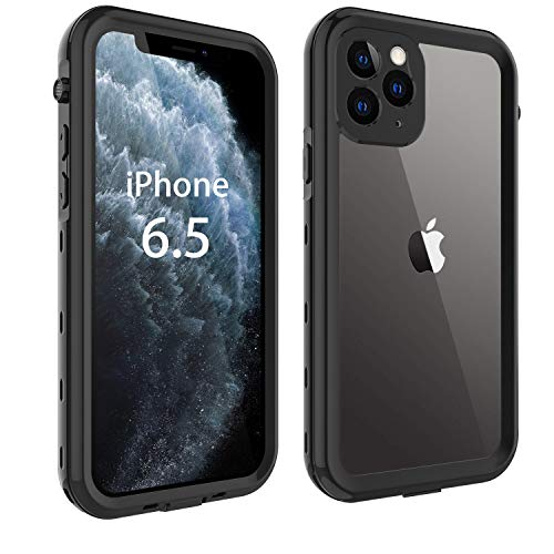 iPhone 11 Pro Max Case, 11 Pro Max Waterproof Case Built-in Screen Protector Fully Sealed Heavy Duty Slim Clear Cases Shockproof Anti-Scratch Outdoor Bumper Cover for iPhone 11 Pro Max (Black)