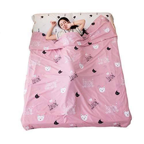 YOUJIAA Doublure Draps de Sac de Couchage Rectangulaire Légère pour Voyage Hôtel (Pink Kitty, S: 80×215cm)