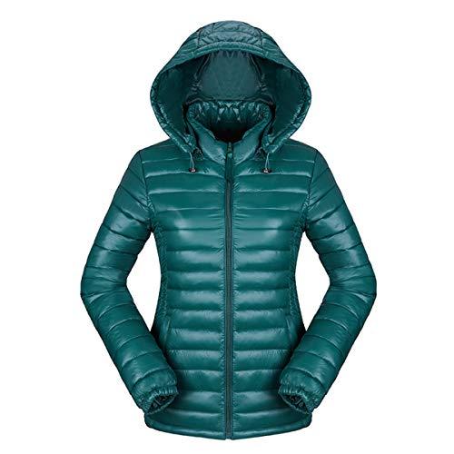 HAOKTY Damen Jacke Steppjacke Daunenjacke Übergangsjacke Outwear mit Kapuze Gesteppt (Grün, XL)