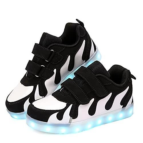 Zapatillas LED para niños, jóvenes, bajas, con luz, para niñas, niños, USB, zapatos de carga para niños, con interruptor, tamaño: 39, color: negro)