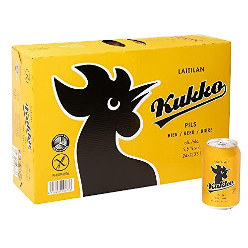 KUKKO PILS (24 X 0,33 L) EINWEG | Finnisches Bier im tragbaren Party-Pack (5,5% vol.) | Glutenfrei mit Gerstenmalz | Preis inkl. Pfand