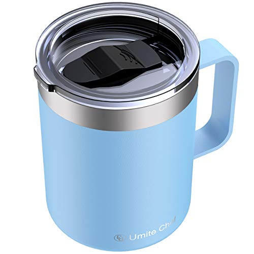 Umite Chef Stainless Steel Insulated Coffee Mug Tumbler with Handle, 12 oz Double Wall Vacuum Tumbler Cup with Lid Insulated Camping Tea Flask for Hot & Cold Drinks(Reef Blue)