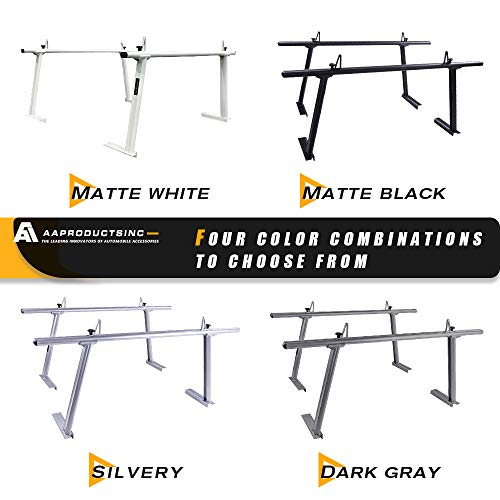 AA-Racks Model APX25 Extendable Aluminum Pick-Up Truck Ladder Rack (No Drilling Required) - Sandy Black