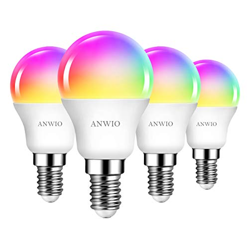 ANWIO E14 Wlan LED Lampe RGB, 6W ersetzt 40W, 470lm, Mehrfarbige Dimmbare WiFi Smart Birne G45, kompatibel mit Alexa, Echo and Google Assistant, dimmbar via Tuya App (4er Pack)