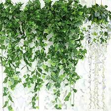 MyVines |Pack of 16 Strands, | Fake Vines | Artificial Ivy| Wall Decoration| Leaf Garland Hanging Plant | Vines for Room Decor | Foliage for Balcony, Wedding, Garden and Kitchen