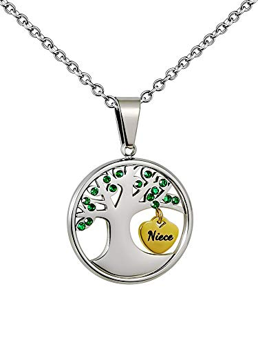 PHOCKSIN Tree of Life Pendant Cubic Zirconia May Birthstone Necklace for Niece Jewellery Stainless Steel
