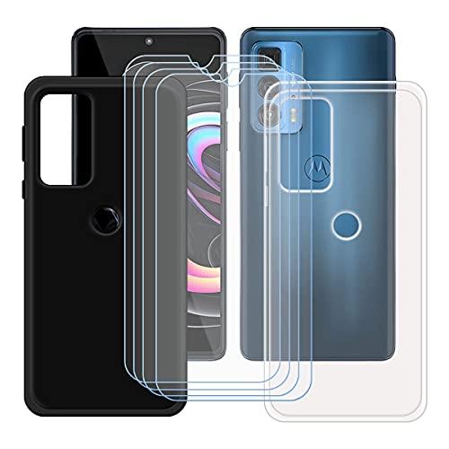 "szjckj 2 x Funda para Motorola Edge 20 Pro (6,7"")+ 4 x Protector de Pantalla, Case Cover Carcasa Bumper Negro + Transparente Clear TPU Silicone Cristal Vidrio Templado."