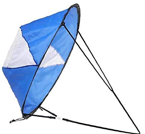 MaylFre 1pc 108 * 108cm Portátiles De 42 Pulgadas a Favor del Viento del Viento Vela Kit Duradero Kayak Viento Vela Kayak Paddle Board Accesorios para Kayak Barco De Vela Azul Canoa