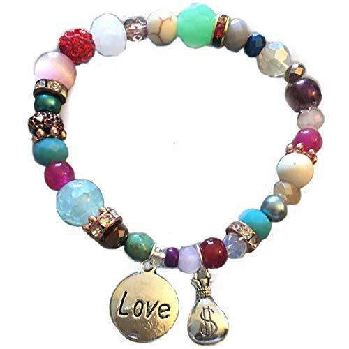 Junk Jewels 1 llavero de prosperidad Love & Money para mujeres Feng Shui pulseras de muñeca