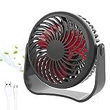 GeekerChip Ventilador USB,Mini Ventilador USB Silencioso con 3 Velocidades Ajustables,para Cochecito de Bebé,Coche,Caminadora, Oficina,Hogar,Viajes,Camping(Negro)