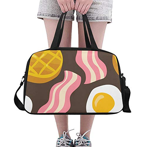 LMFshop Totes For Women Delicious Creative Cartoon Food Waffle Yoga Gym Totes Fitness Handbags Duffel Bags Shoe Pouch For Sport Luggage Womens Outdoor Unique Handbags For Women