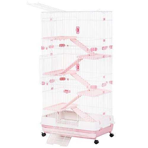PawHut 57' H 6-Level Indoor Small Animal Cage Rabbit Hutch with Wheels - Pink
