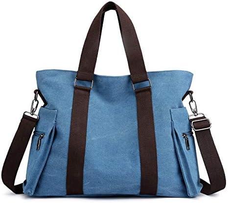 H/A Ms. Shoulder Bag 2020 New Japanese Korean Fashion Wild Large Capacity Simple Fashion Casual Canvas Bag MENGB (Color : Sky-Blue, Size : 41x31x14CM)