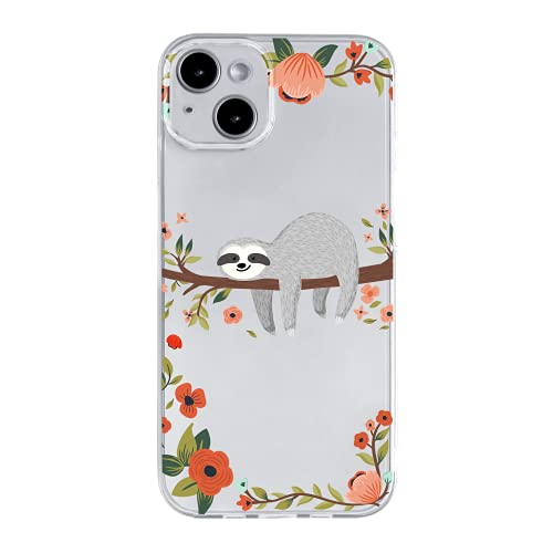 iPhone 13 (6.1 inch) Case,Blingy's 2021 Fun Sloth Style Transparent Clear Soft TPU Protective Case Compatible for iPhone 13 6.1' (Gray Sloth)