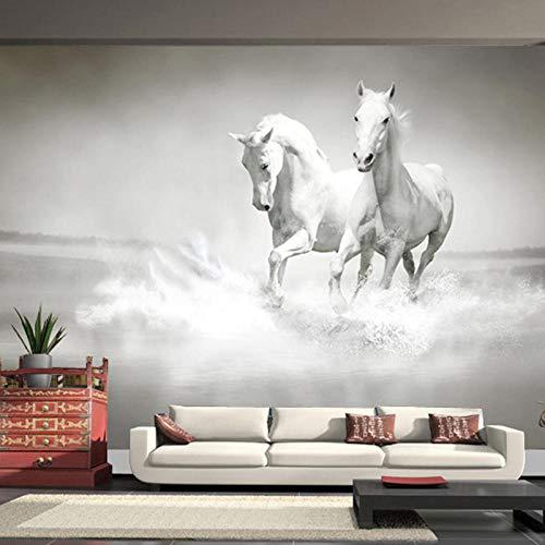 Fotobehang Moderne kunst 3D Hardlopen Wit Paard Fotobehang voor Slaapkamer Woonkamer Kantoorachtergrond Niet-geweven Wandpapier-400Cm (W) X 280Cm (H)