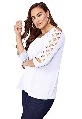 Roamans Women's Plus Size Lattice-Sleeve Ultimate Tee Shirt - 34/36, White