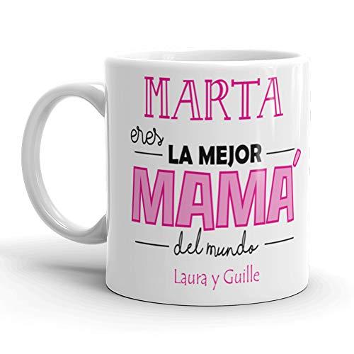 Kembilove Taza de Café Mama Personalizada – Taza de Desayuno con Nombre Eres la Mejor Mamá Personalizada con Nombre Hijos – Taza de Café y Té para Madres – Taza de Cerámica Impresa Rosa