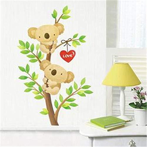LSDAEER Slaapkamer Muurstickers Zelfklevende Vinyl Liefde Cartoon Koala Knuffel Boom Muurstickers Slaapkamer Kinderkamer Wandachtergrond Decoratie Stickers PVC