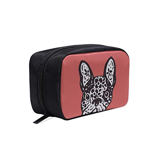 Small Makeup Bag French Bulldog Sugar Skull Frenchie Cute Dog Day Zipper Cosmetic Bags For Women Makeup Gift Bag Travel Bag Accessories Cosmetic Bags Multifunction Case Cosmetic Weekender Bag