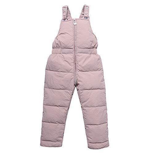 Happy Cherry Kinder Verdickte Trägerhose Winddicht Daunenhose Baby Overall Warm Schneehose Outdoorhose Winterhose Rosa - Hersteller 90/EU-Größe 86-92