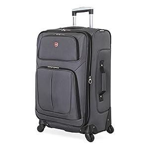 SwissGear Sion Softside Luggage with Spinner Wheels, Dark Grey, Checked-Medium 25-Inch