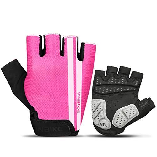 Asolym Handschuhe Herren & Damen Outdoor Slip Wear Mountainbike Reiten Halbfingerhandschuhe atmungsaktiv stoßfest,PinkWhite,M