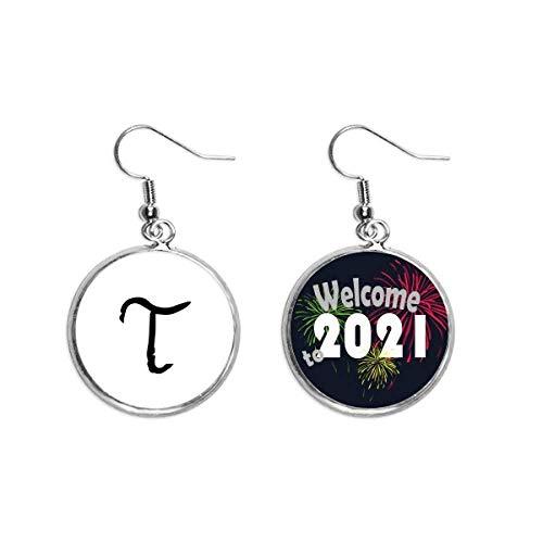 Ohrringe mit griechischem Alphabet, Tau, schwarz, Silhouette, Schmuck 2021
