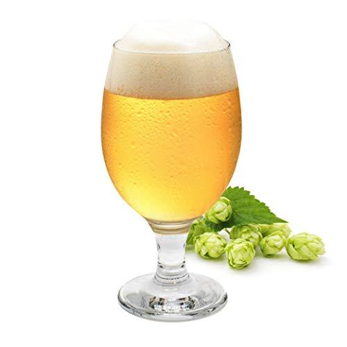 vasos de cerveza Juego de 6 , 0,3 L, diseño de tulipanes de cerveza, vasos transparentes, vasos de cóctel, vajilla de cristal, vasos para fiestas, incluye pegatina de Kemes