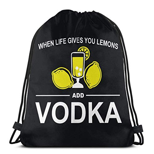 Wenn das Leben Ihnen Zitronen gibt, fügen Sie Wodka Kordelzug Rucksack Rucksack Umhängetaschen Gym Bag hinzu