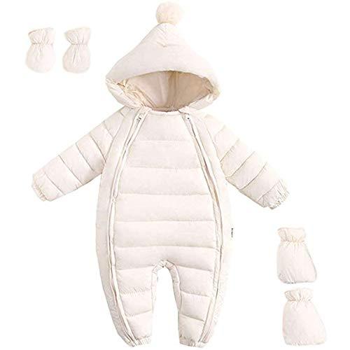 FAIRYRAIN Baby Jungen Mädchen Schneeanzug Daunenanzug Strampler mit Kapuze Handschuhe Footies Quilted Pramsuit Outdoor Winter Snowsuit , Weiß,  90cm/9-12 Monate