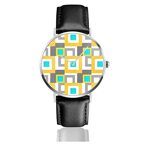 Armbanduhr, abstrakt, geometrische Quadrate, Aquamarin, Gelb/Grau, klassisches Lederarmband, Schwarz