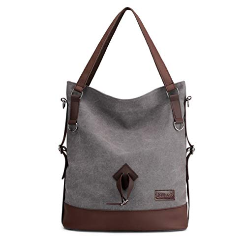 JOSEKO Stylish Handbag for Women, Ladies Soft Canvas Large Capacity Shoulder Bag Vintage Crossbody Bags Grey
