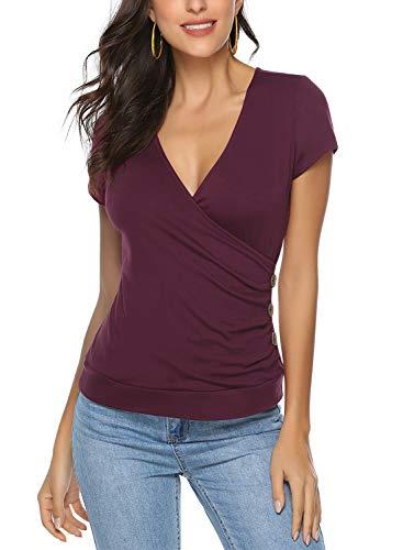 Ehpow Damen T-Shirt Sommer V-Ausschnitt Kurzarm Shirts Oberteile Cross Wrap T-Shirt Tops (Small, Wein)