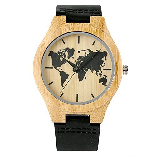 GIPOTIL Reloj de bambú con Pantalla de mapas del Mundo Negro Grabado paraHombre, Reloj de Pulsera Informal de Cuero para Hombre, Reloj de Madera de Cuarzo, Regalos, A