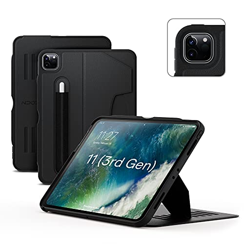 ZUGU iPad Pro 11 Case 2021 / 2020 3rd/2nd Gen. - Ultra Slim Protective Cover - Wireless Apple Pencil Charging - Convenient 8-angle Magnetic Stand & Auto Sleep/Wake [Black]