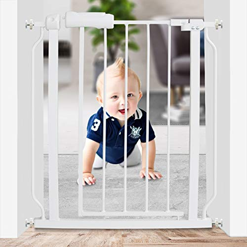 WAOWAO Narrow Baby Gate Easy Walk Thru Pressure Mount Auto Close White Metal Child Dog Pet Safety Gates 30.7in Tall for Stairs,Doorways,Kitchen and Living Room 24.02-29.13 in