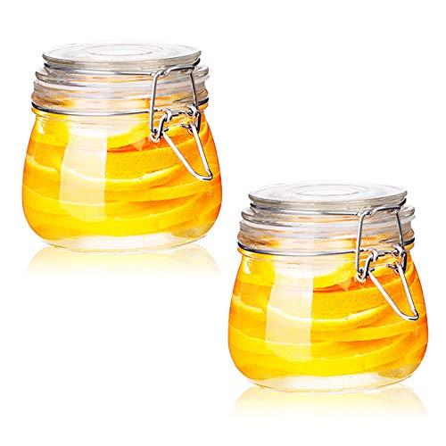 FARI Tarros de almacenamiento de vidrio con tapa hermética con bisagras a prueba de fugas, recipiente redondo para almacenar alimentos Cereales, pasta, azúcar, frijoles, especias (2, 17 onzas)