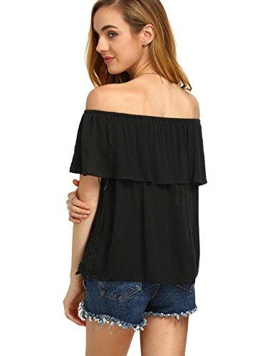 SheIn Women's Off Shoulder Ruffle Tassel Scalloped Hem Blouse Top Medium Black