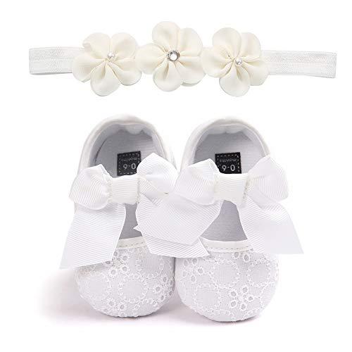 Carolilly Chaussures Bébé Fille Princesse avec Bandeau Floral Chaussures Bowknot Anti-Dérapant Pour Baptême Mariage Photographie Cérémonie,Blanc,0-6 mois