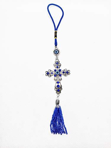 "LUCKBOOSTIUM Lucky Evil Eye Car Hanging Ornament - Cross w/Blue Crystal Rhinestones - Tassels Charms Tranquility, Calm, Understanding - Rear View Mirror Accessories - Home Decor & Charm (2""x10.5"")"