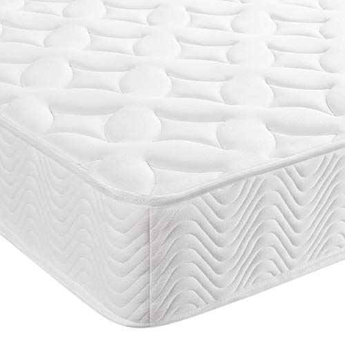 Yaheetech Single Mattress 3FT Pocket Sprung Mattress with 3D Breathable Hypoallergenic Fabric Knitted Cover Adults,Medium Firm,Orthopedic Foam Mattress,190x90