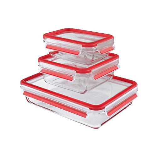 EMSA Frischhaltedose-Set, 3-tlg. Clip & Close Glas Auflaufform Servierform Frischhaltebehälter NEU OVP