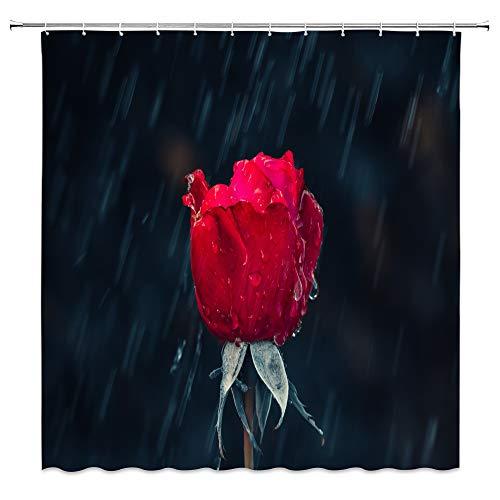 Red Rose Shower Curtain Vintage Romantic Flower Valentine's Day Love Spring Floral Bloom Green Leaf Plant Black…