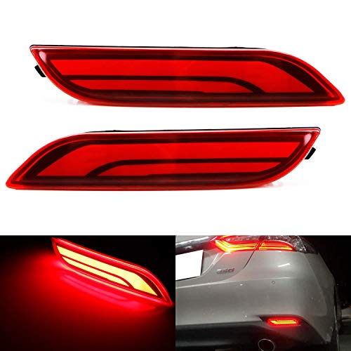 iJDMTOY Red Lens Full LED Bumper Reflector Lights Compatible With 2018-up Toyota Camry, Function as Tail, Brake & Rear Fog Lamps