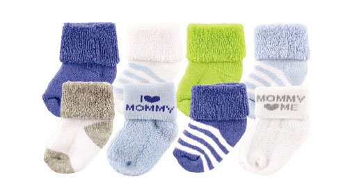 Luvable Friends 28016B Baby Socken Junge 8er Set uni & gestreift Größe: 0-6 Monate