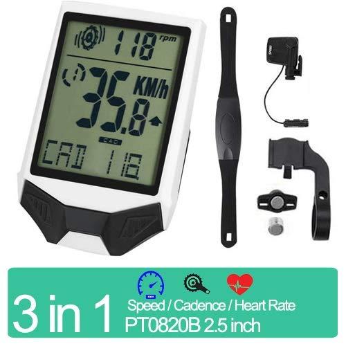 DINEGG Ordinateur de vélo sans Fil vélo étanche Anti-Pluie odomètre Cadence Sensor 2.5 Pouces LCD à vélo Compteur de Vitesse (Color : HRM White)