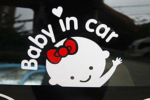 Leoie Bebé en Letras para Auto Que saludan Bebé a Bordo Signo de Seguridad Etiqueta autoadhesiva White + Red
