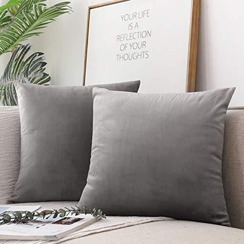 Emooqi Cojines de Terciopelo para Sofa, Decoración Cuadrado Fundas de Almohada 2 Piezas Funda Cojin para Cojines para Dormitorio y Sala de Estar Terciopelo Funda de Cojine 45 x 45cm 18x18 -Gris